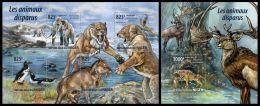 nig15207ab Niger 2015 Extinct animals 2 s/s