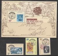 Barbados 1979 Sir Rowland Hill 3v + M/s  ** Mnh (21191) - Barbados (1966-...)