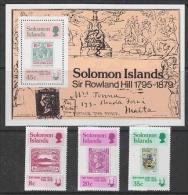 Solomon Islands 1979 Sir Rowland Hill 3v + M/s  ** Mnh (21192) - Solomoneilanden (1978-...)