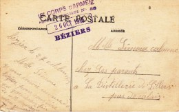 16e CORPS D'ARMEE / HOPITAL TEMPORAIRE N° 38 / 26 OCT 16 / BEZIERS Sur CP BEZIERS - Marcophilie (Lettres)