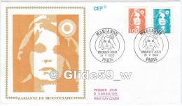FDC - Premier Jour D´Emission (CEF) - Marianne Du Bicentenaire - Paris - Premier Jour 21 V 1990 (1 F + 5 F) - FDC