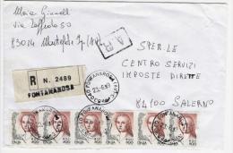 Fontanarosa 23.6.1999 - Donne Eur./Lire 0.41/800 X 6 Su Busta Raccomandata - 6. 1946-.. Republik