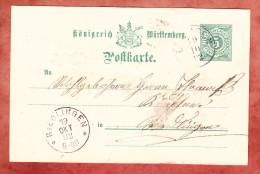 P 34 Ziffer, Ertingen Nach Riedlingen 1892 (76491) - Wurttemberg
