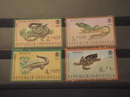 INDONESIA - 1966 RETTILI  4 Valori - NUOVI(++) - Indonesia