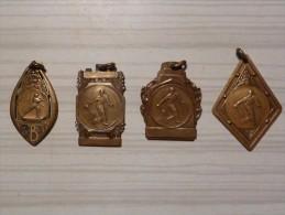 CHIMAY - 4 Médailles Souvenir De Championnats De Belgique Interclubs-  Tennis Club Chimay -1936-1955-1956-1959 - Professionnels / De Société