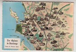 17 - Les églises De Saintonge - Carte Géographique - Editeur: Berjaud N° 4597 - France