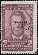 ARGENTINA - Scott # 666 Estaban Echeverria / Used PERFIN Stamp - Gebruikt