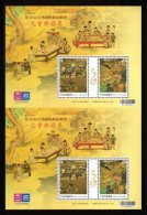 Pair S/s 2015 30th Asian Stamp Exhi Stamps-Literary Gatherings Painting Drink Wine Tea Calligraphy Rock Lute Music - Other