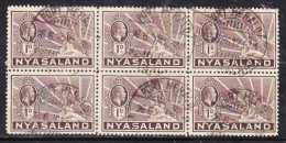 NMyasaland George V, 1934, 1d Brown Block Of 6,  Used PORT HERALD 26.6.36 C.d.s. - Nyassaland (1907-1953)
