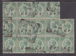 Tanganyika,   N.F.  Opt On 1.2d Of Nyasaland, Block Of 14, NYASALAND FF3  15 AU 16 Sq.c.d.s. - Kenya, Uganda & Tanganyika