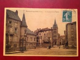 42 Loire BOURG ARGENTAL Le Presbytère Et L'Eglise (couleur Toilée) - Bourg Argental