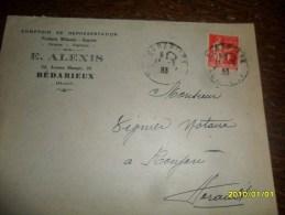 HERAULT -Type PAIX  - OBL/ BEDARIEUX ++ PUB Pour ROUJAN (Herault) De 1933 - 1932-39 Peace