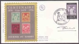 FDC / Premier Jour Sur Soie N° 1870 JT 76, A DUNKERQUE Anniversaire Du «Type Sage»  ( Signature Du Graveur G. Bétemps) - 1970-1979