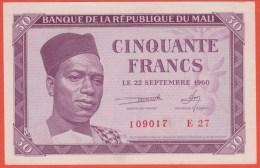 MALI - 50 Francs Du  22 09 1960  - Pick 1 - Mali