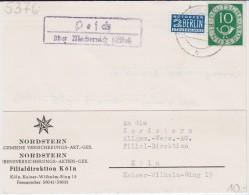 Bund Posthorn Mi 128 Landpost Stempel Pesch ü Mechernich Kte 1952 - Briefe U. Dokumente