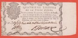 Billet Loterie - QUATRIEME LOTERIE Ville ORBE De 6 Livres 12/10/1792 - Switzerland