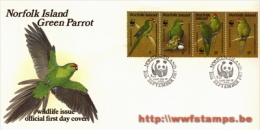 50% DISCOUNT WWF - NORFOLK ISLAND - 1987 - Local FDC - 4 Stamps On 1 FDC - Design Of 1 Green Parrot - 2 50% DISCOUNT ... - Ohne Zuordnung