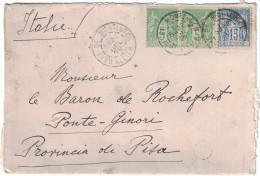 France - Lettre (enveloppe) 1899 Sage Italie Ponte Ginori Affranchie 25c 90 + 106 X 2 Cachet Gare Montluçon + Facteur - Postmark Collection (Covers)