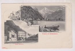CPA FLUELEN MIT BRISTENSTOCK, MULTIVYES HOTEL HIRSCHEN,   En 1906!! (voir Timbre) - UR Uri