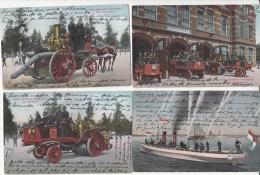 Amsterdam   Brandweer      pompiers   12   cartes    1906 ,,,,, 5 scans