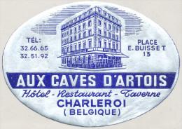 AUX CAVES D ARTOIS - CHARLEROI - BELGIQUE - Old HOTEL LUGGAGE LABEL ETIQUETTE ETICHETTA BAGAGE - Hotel Labels