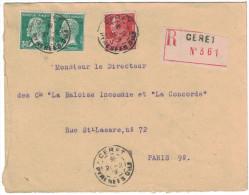 France - 1929 Lettre Recommandée Affranchissement Mixte Pasteur 174 + Berthelot 243 Tarif 1F50 Cad Ceret Pyrenees - Marcofilie (Brieven)