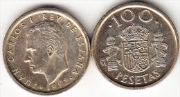 ESPAÑA 1992 JUAN CARLOS 100 PTS. FLOR DE LIS ARRIBA Y ABAJO .NUEVA. RARA CN 4297 - [ 5] 1949-… : Royaume