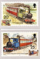 4 Maximumkaarten Isle Of Man 1988 (Railways And Tramways) - Trains