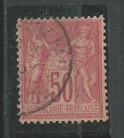 Groupe Allegorique Paix Et Commerce 50c Rose Yt 98 - 1876-1898 Sage (Type II)