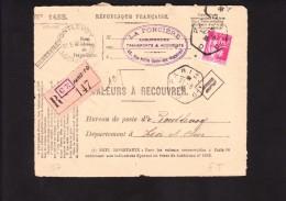 Perforés FT - Recommandé Valeurs A Recouvrer - Type PAIX 289 Au Tarif - Paris 1 D - Pontlevoy - Loir Et Cher 41 - Perforés