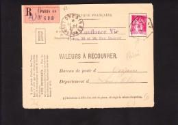 Perforés CV - Recommandé Valeurs A Recouvrer - Type PAIX 289 Au Tarif - Paris 48 A - Onzain - Loir Et Cher 41 - Perforés