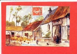 76 MESNIL VAL Cpa Animée Ferme Eglise - Mesnil-Val