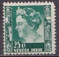 Ned. Indië: 1934-37 Koningin Wilhelmina 25 Ct Donkergroen Zonder WM NVPH 199 Postfris - Indes Néerlandaises