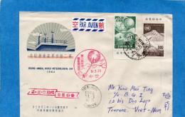 MARCOPHILIE-lettre  -Taiwan--cad-1962--pour  Viet Nam -2 Stamps N°318-9 Météorological - 1945-... République De Chine