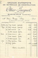 FACTURE OLLIER-JACQUOT MATERIAUX DE CONSTRUCTIONS à MARVEJOLS (LOZERE) 1933 - France
