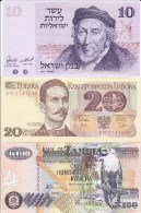 WORLD COLLECTION 10 20 100 ISRAEL POLAND ZAMBIA Lot UNC See Scan - Bankbiljetten