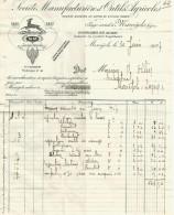 FACTURE SOCIETE MANUFACTURIERE D'OUTILS AGRICOLES à MARVEJOLS (LOZERE) 1927 - France