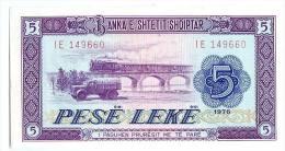 ALBANIE - BANKA E SHTETIT SHQIPTAR 1976 5 PESE LEKE - Albanie
