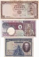 WORLD COLLECTION 25 100 ANGOLA TIMOR Ex-colony Portuguese SPAIN Pesetas ESCUDOS Lot - Bankbiljetten