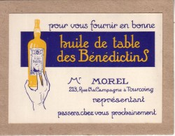 NORD - SECLIN - CARTE VISITE , AVIS , MR MOREL , TOURCOING - VINAIGRERIE & HUILERIE - HUILE DES BENEDICTINS - EECKMAN - Visiting Cards