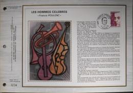 FEUILLET C.E.F 1er JOUR 1974 N° 282 S - Francis POULENC - Paris Le 20.07.1974 - Tirage Sur Soie Numéroté - - Documentos Del Correo