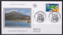 Patrimoine Martiniquais Enveloppe 1er Jour Saint Pierre 15.05.99 N°3244 Maison De La Bourse, Hibiscus, Barque Volcan Mer - FDC