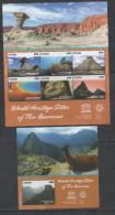 GUYANA , 2015, MNH, UNESCO WORLD HERITAGE SITES OF AMERICAS,  BELIZE BARRIER REEF, TEMPLES, MOUNTAINS,LLAMAS,  SLT+S/S - Aardrijkskunde