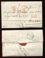 LB -   Lac - Lettre De Belgique Cachet Rouge Tournay 26 Aout 1843 - Cachet Rouge Belgique Lille - 27 Aout 1843 - - Lettr - Postmark Collection