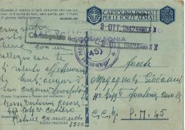 FRANCHIGIA WWII POSTA MILITARE 3500 CONC MESSINA 1942 X P.M. 45 11° RGT CASALE - 1900-44 Victor Emmanuel III.