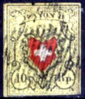 Svizzera-001 - 1850 - Y&T: N. 15 (o) - Privo Di Difetti Occulti. - 1843-1852 Poste Federali E Cantonali