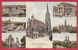 168844 / Vienna Wien - BURGTHEATER , PARLAMENT KARISKIRCHE STAATSOPER STEPHANSDOM USED 1963 Austria Österreich Autriche - Ohne Zuordnung