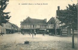 18 AUBIGNY -  La Place Du  Marché  ( Café De L'Agriculture , Café De La Halle ) - Aubigny Sur Nere