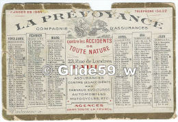 Petit Calendrier - La Prévoyance - Compagnie D'Assurances - 1912 - Calendriers