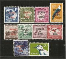 """ILE NAURU.Année 1968, T-p De La Série Definitive, Surchargés """"Republic Of Nauru"""".  10 T-p Neufs **   Côte 20.00 € - Islands"""